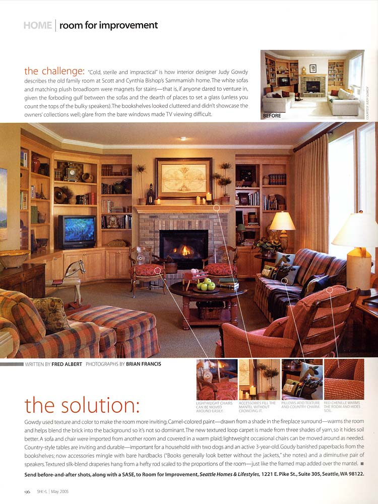 Seattle Homes & Lifestyles: family room designed by Judy Gowdy featued in 'Room for Improvement'